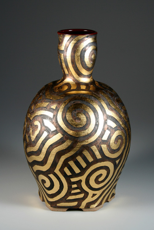 Vase with gold leaf